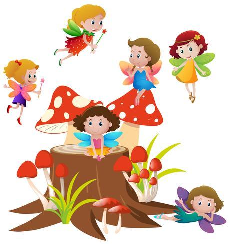 Många älvor som flyger på svamp