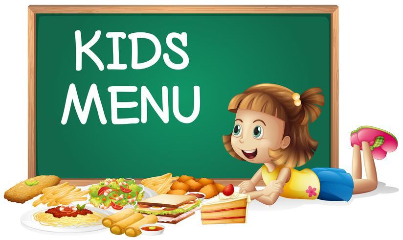 Verschillende soorten voedsel en een klein meisje