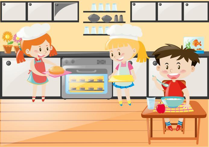 Cena de cozinha com meninas assando e comendo menino