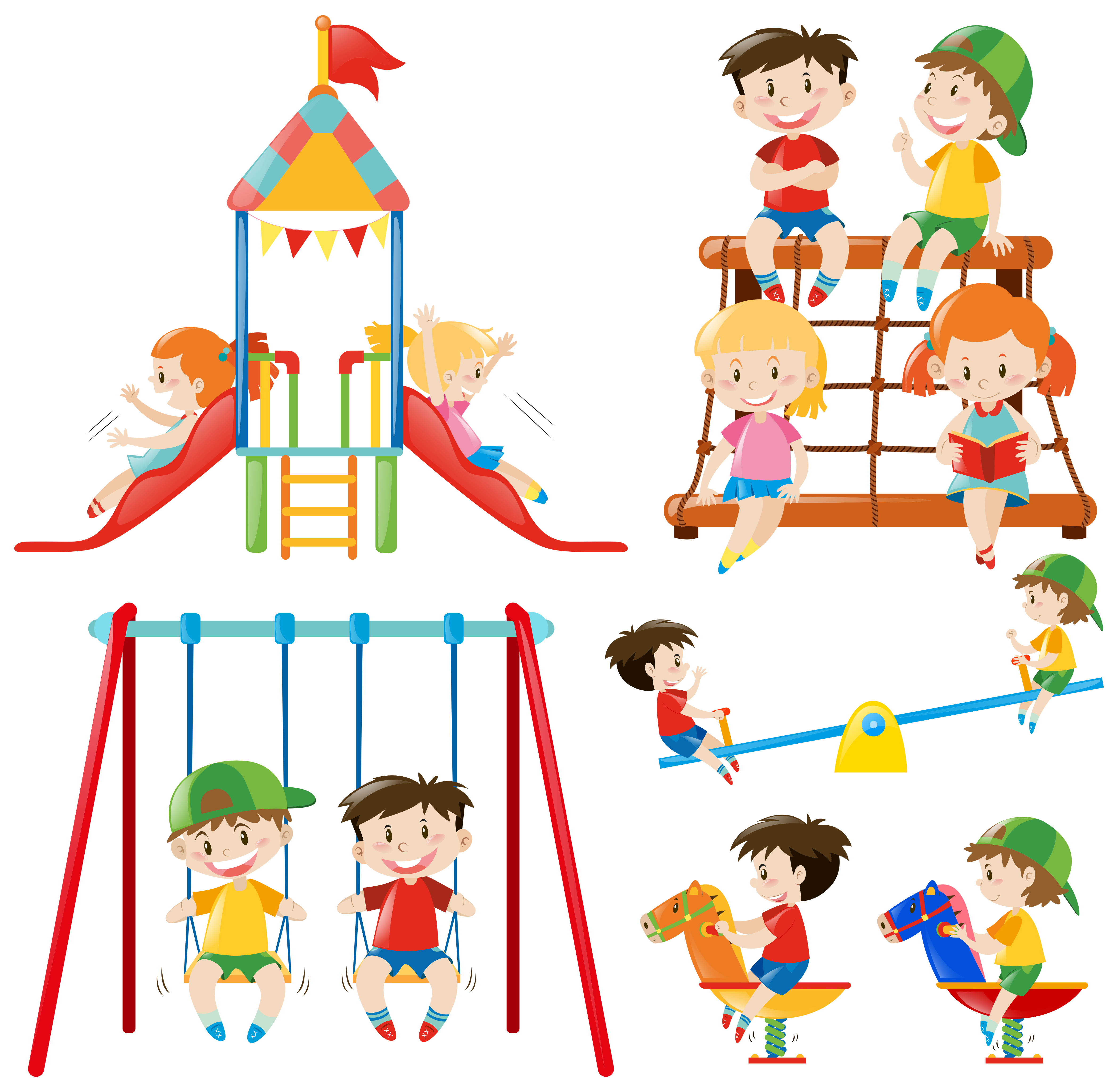 Many children playing in playground - Download Free Vector ...