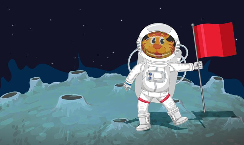 En katt astronaut i rymden vektor