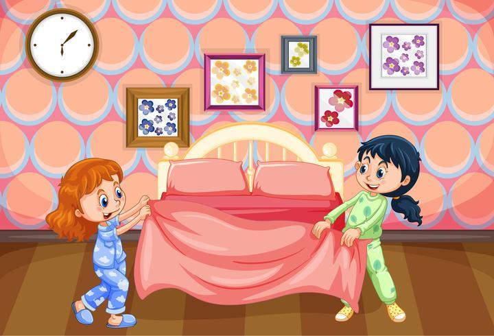 Syster sängkläder på morgonen vektor