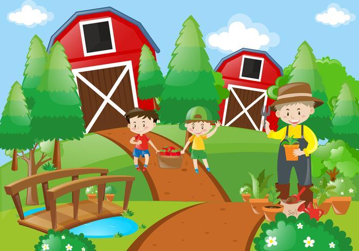 Landbouwer en kinderen die op de boerderij werken