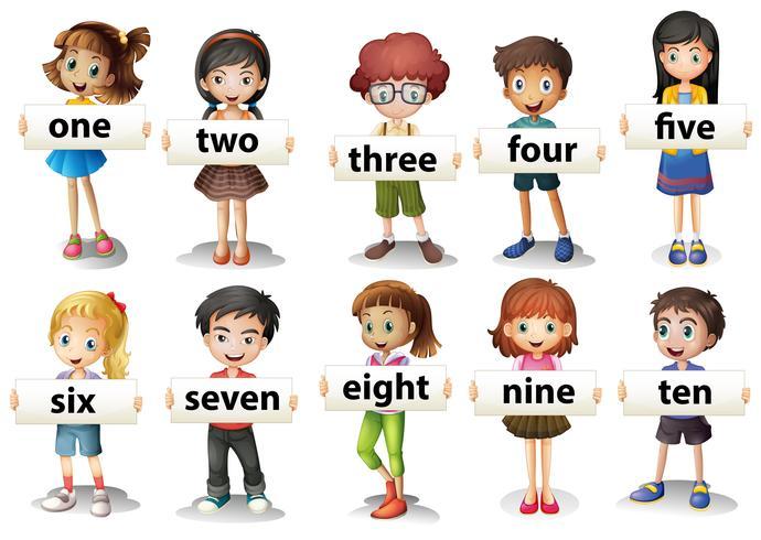 Niños con tarjetas de palabras con números.