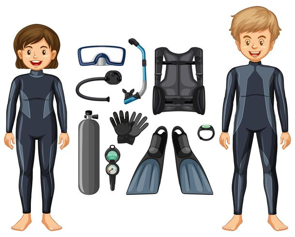 Scuba divers in wetsuit and different equipments