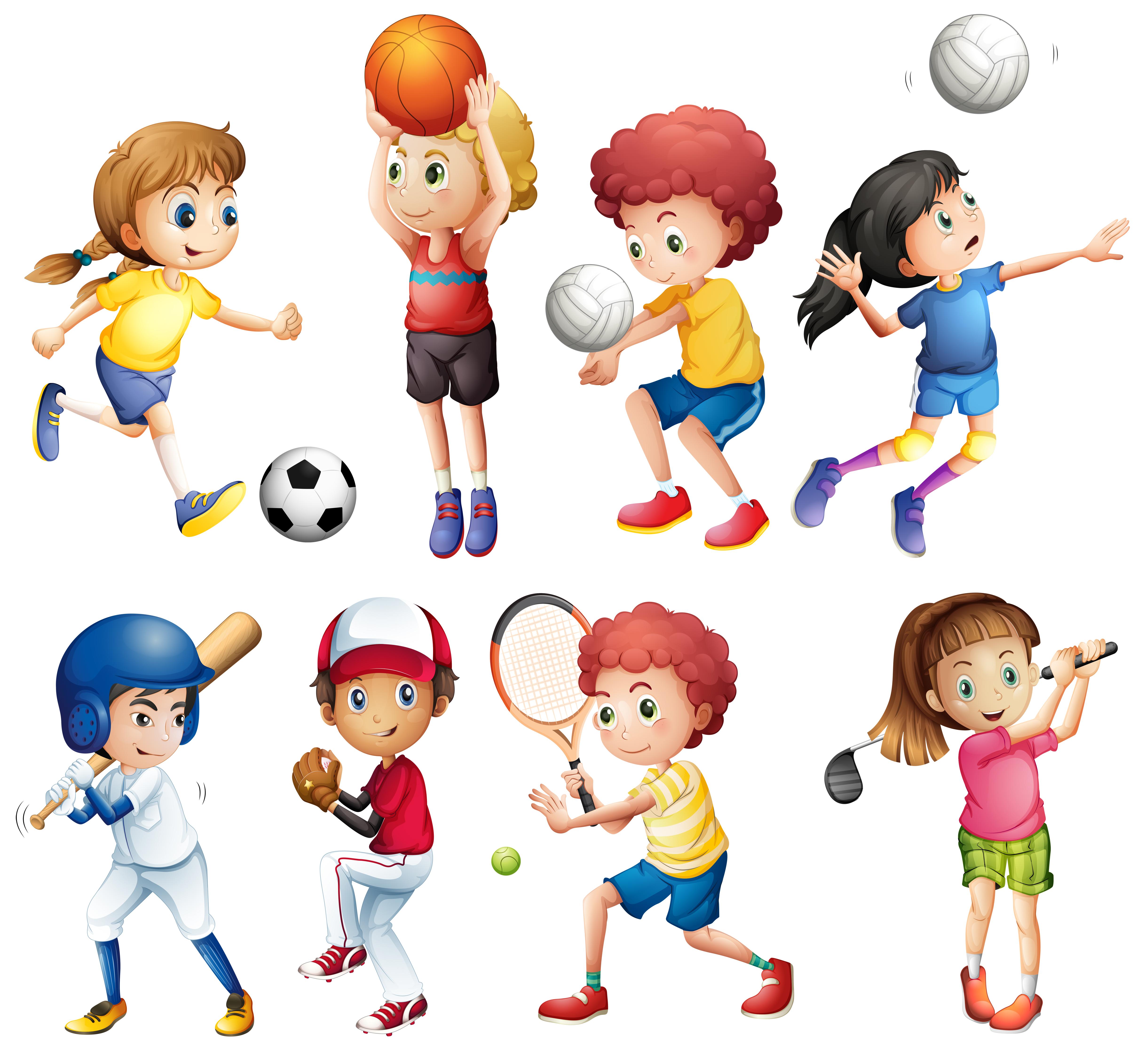 Children And Sports 414730 Vector Art At Vecteezy