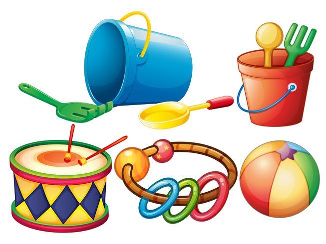 Reihe von bunten Spielzeugen