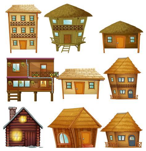 Verschillende ontwerpen van houten hutten