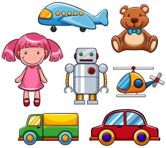 Verschillende soorten schattig speelgoed