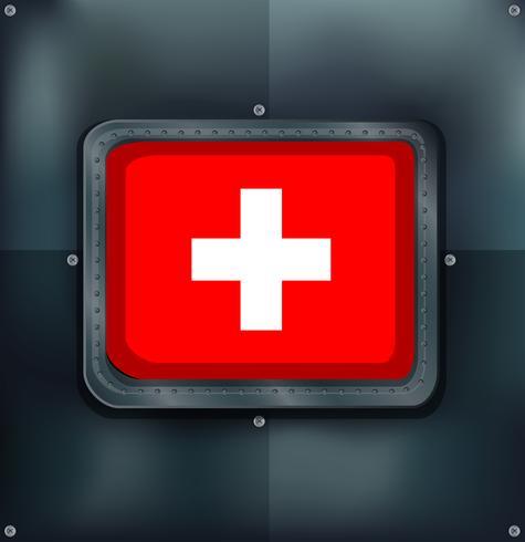 Drapeau suisse sur fond métallique
