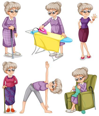 Anciana en diferentes acciones.