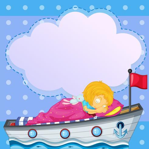 Ein Mädchen, das über dem Boot mit einem leeren Hinweis schläft