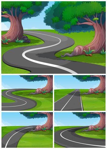 Five scenes of road in the park