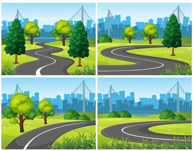 Cuatro escenas de parque urbano y carreteras.