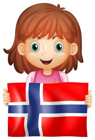 Söt tjej och flagga i Norge vektor