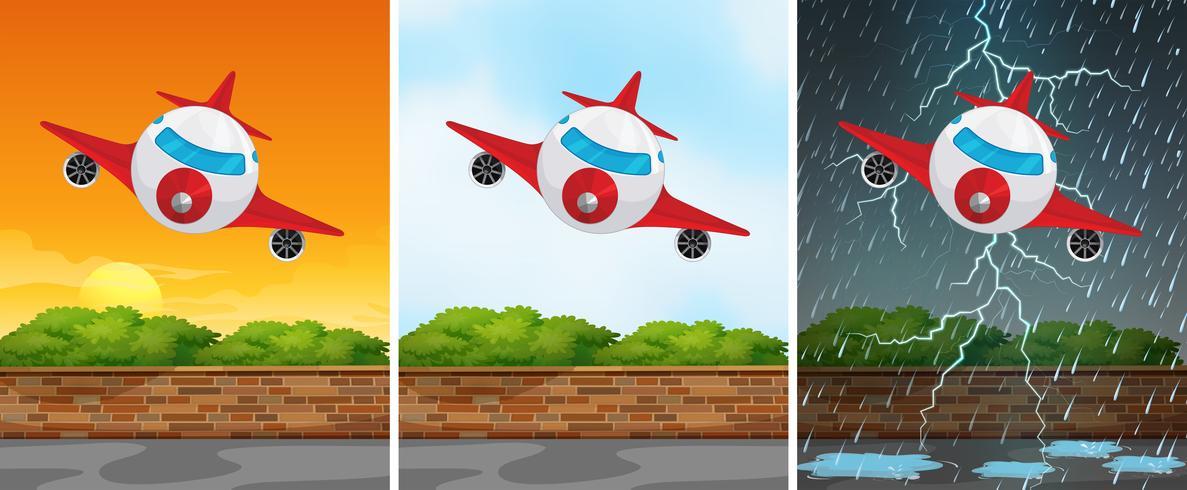 Trois milieux avec avion volant