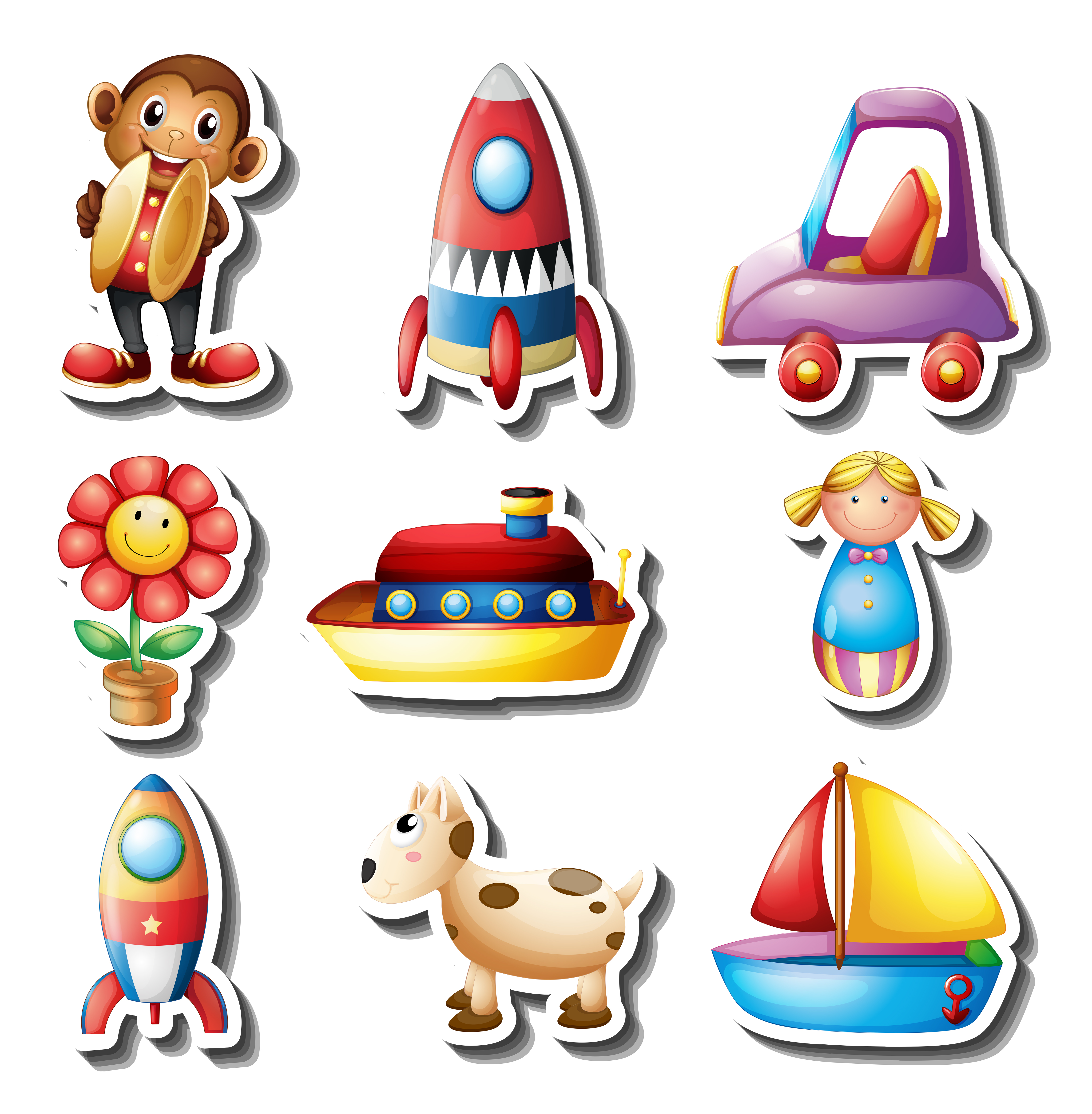 Sticker set of toys Download Free Vectors Clipart