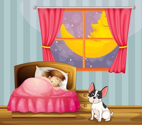 En tjej sover i sitt rum med en hund