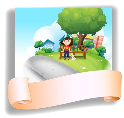 A girl at the bench with her pet at the back of an empty template