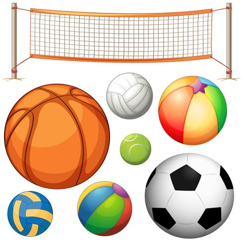 Set di palle diverse e rete