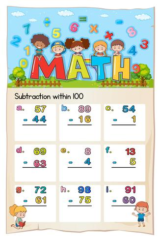 Math worksheet for subtraction within hundred vector