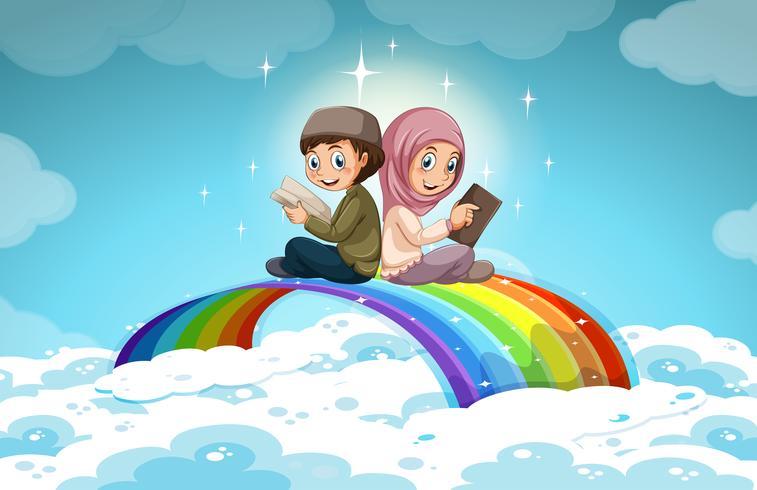 Två muslimska läser böcker över regnbågen vektor