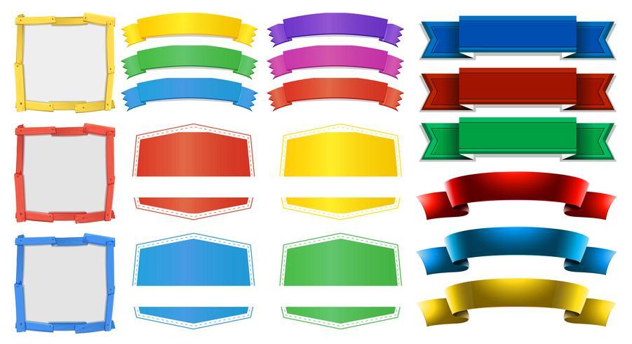 Olika utformningar av banderoller och ramar vektor