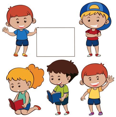 Glad barn och vitt papper vektor