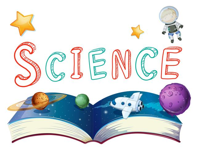 Book of science with planets and astronaut vector