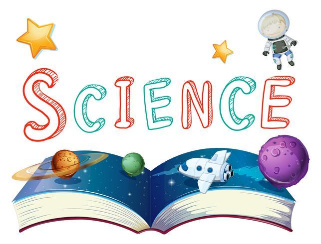 Libro della scienza con pianeti e astronauta vettore