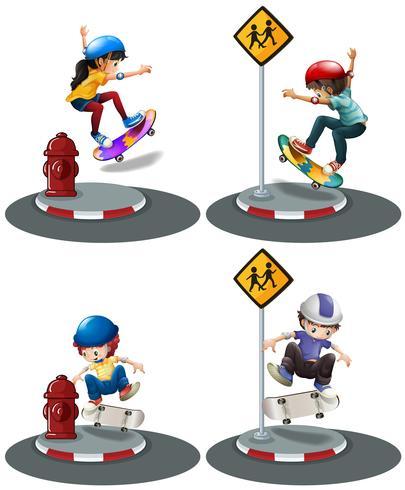 Garçons et fille jouant au skateboard