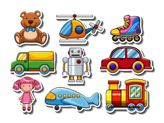 Conjunto de pegatinas de muchos juguetes.