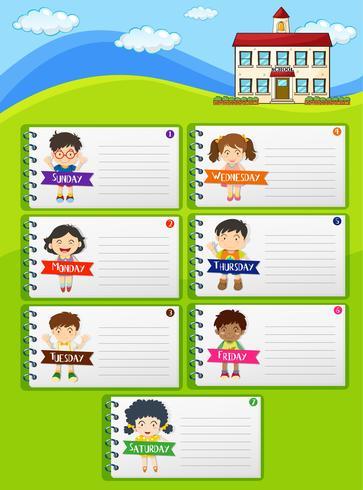 Notas do planejador semanal com crianças e escola