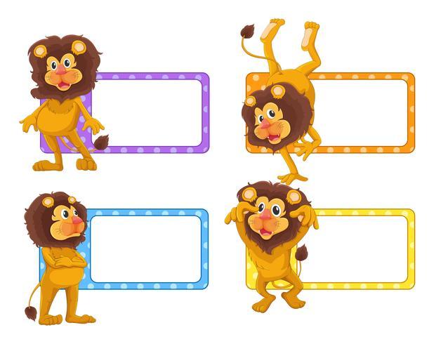 Diseño de etiquetas con lindos leones.