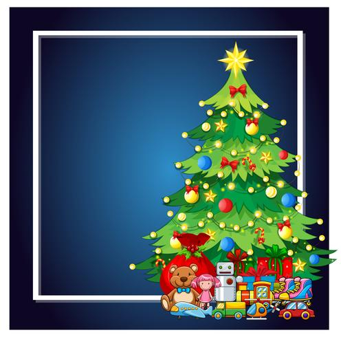 Uma árvore de natal e quadro atual vetor