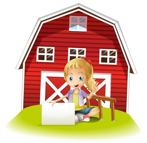A girl sitting in front of the barnhouse holding an empty signboard