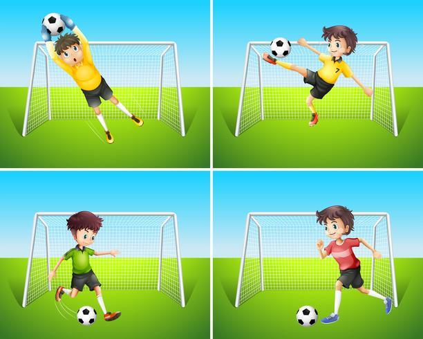 Eine Reihe von Fußballspieler und Ziel