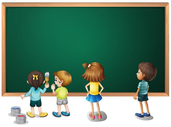 Barn som målar på tavlan vektor