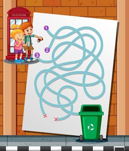 Barn hittar vägen till papperskorgen vektor