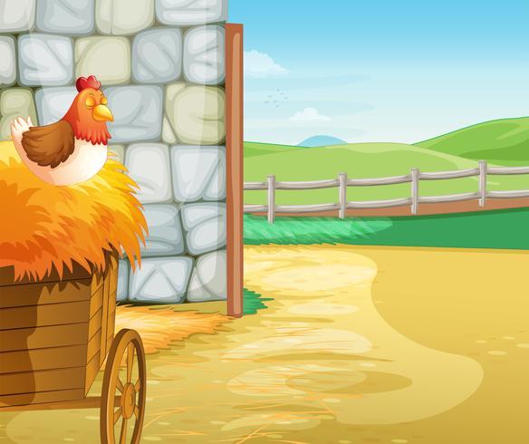 Uma fazenda com uma galinha acima dos fenos vetor
