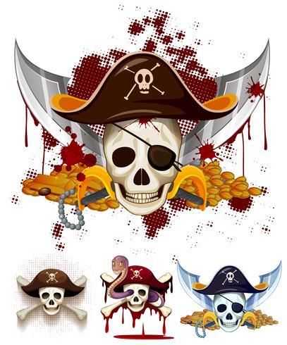 Pirat temat logo med skalle vektor