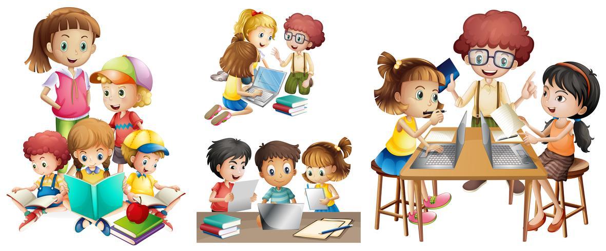 Muchos niños realizando diferentes actividades.