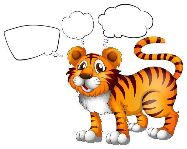 En vild tiger med tomma callouts