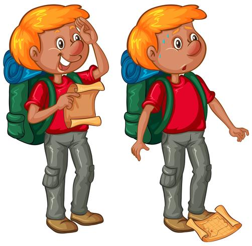 Male hiker in two position vector