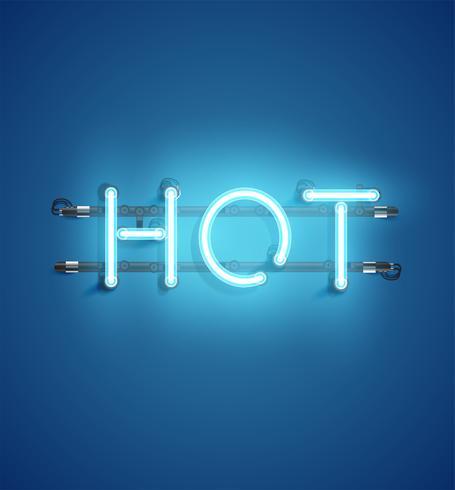 Parola al neon realistico per la pubblicità, illustrazione vettoriale