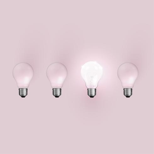 High detailed realistic light bulb illustration, vector