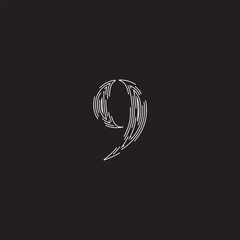 Elegant karakter van een lettertype gemaakt door onderbroken lijnen, vectorillustratie vector
