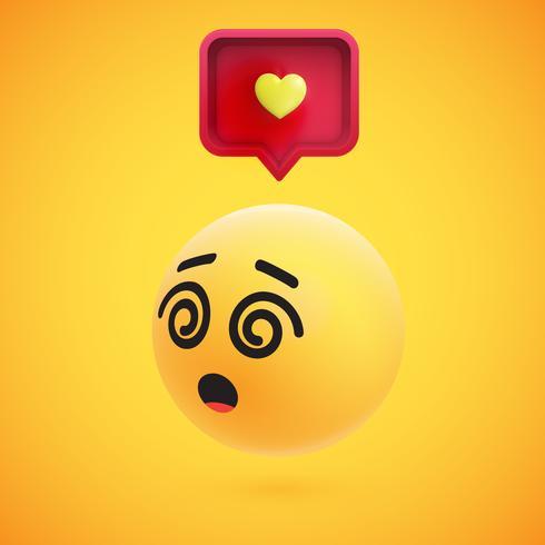 Netter hoch-ausführlicher gelber Emoticon 3D mit Spracheblase und Herzen für Netz, Vektorillustration