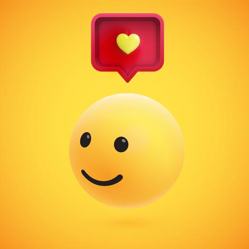 Gullig hög detaljerad gul 3D-uttryckssymbol med talbubbla och hjärta för webben, vektor illustration