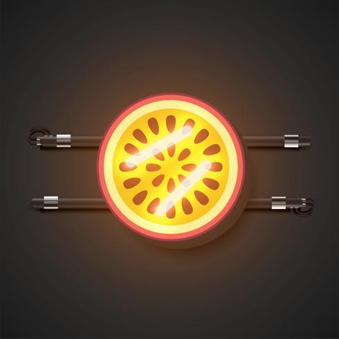 Frutas de neón realistas con consola, ilustración vectorial